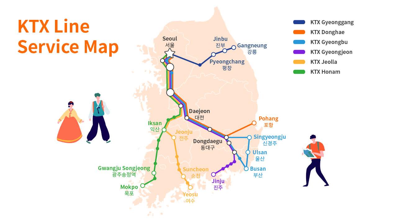 KTX Line Service Map